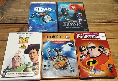 Lot of 6 Disney DVD Movies Pixar Wall-e, Nemo, Toy Story 1 2, Brave, Incredibles