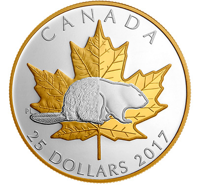 2017 Beaver-Timeless Icons Piedfort Proof $25 1oz .9999 Fine silver coin Canada
