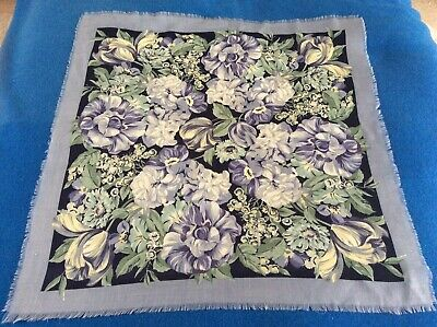 Vintage Liberty 100% Wool Scarf Floral In Blues And Greens