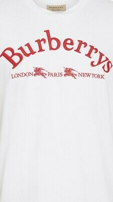 Burberry Mens Logo-Graphic T-shirt Red & White Men's Size XL