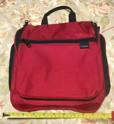 LL Bean Travel Toiletry Bag Personal Organizer Hanging Cosmetics Dopp Kit Red