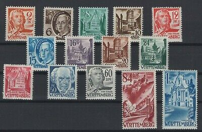 FRANCE OCCUPATION ZONES, WURTTEMBERG, STAMPS, 1948, Mi. 14-27 **