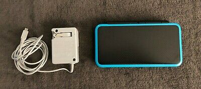 Nintendo 2DS XL - Black/Turquoise w/charger - used/damaged but works perfectly