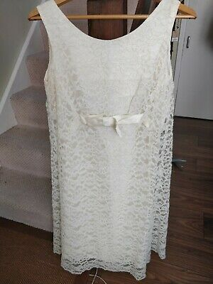 Authentic vintage handmade 60s 70s retro Lace Cream Ivory A line shift Dress 12