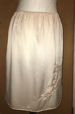 VGC VINTAGE PINK PURE SILK SLIP small-medium HAND EMBROIDERED Deadstock
