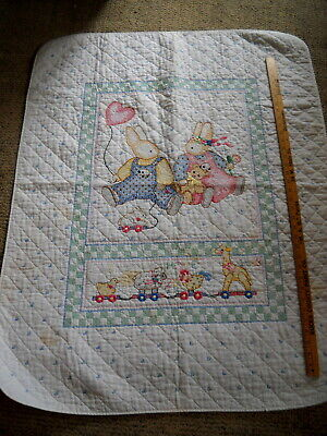 Baby Crib Hand Embroidered Bunny Quilt ~Easter Rabbits ~ Signed and Dated