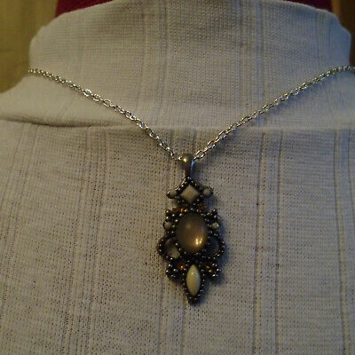 Beautiful French Pendant With Ecru Beads On New Silver Tone Chain