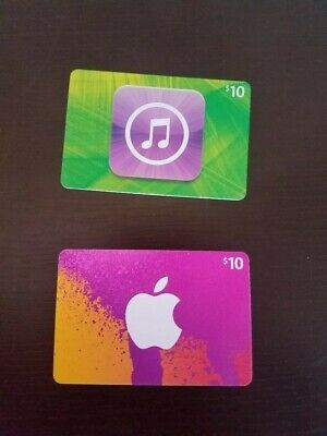 Apple iTunes Gift Card - 2 x $10 = ($20 Value) Physical Cards - NEW