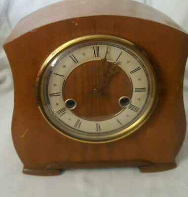 Vintage Smiths Enfield Mantle Clock Wooden with Key and Pendulum Graham 556