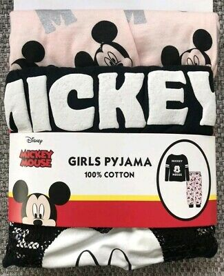 BNWT Mickey Mouse Pyjama Set Disney Primark black Sequins Girls age 5-6