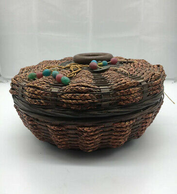 Vintage Chinese Sewing Basket With Lid Woven Red Brown Coins Beads