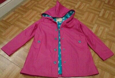 Hatley Girls Hot Pink turquoise floral splash jacket age 10 yrs immaculate
