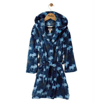 HATLEY Kids Dressing Gown / Robe Moose Print Size 8-10 Years (XL) *BRAND NEW*