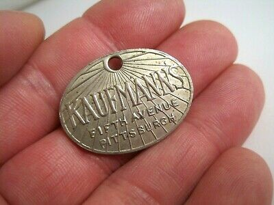 Vtg KAUFMANN'S Department Store METAL CHARGE CREDIT CARD TAG 5th Ave Pittsburgh