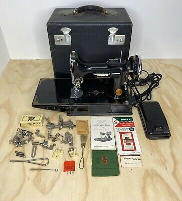 April 1 1941 Singer Featherweight 221 Sewing Machine W/ Case & Attachments