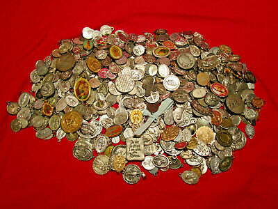Vintage Christian Religious Catholic Medals BIG LOT 500+ Pieces Good Variety