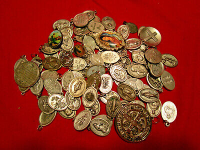 Vintage Christian Religious Catholic Medals BIG LOT 75+ Pieces Good Variety #1