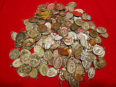 Vintage Christian Religious Catholic Medals BIG LOT 125+ Pieces Good Variety #2
