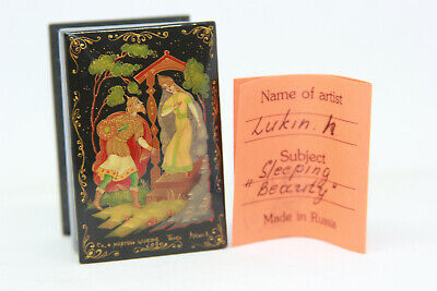 Vtg Russian SIGNED Lacquer Handpainted Palekh Sleeping Beauty box USSR Fairytale