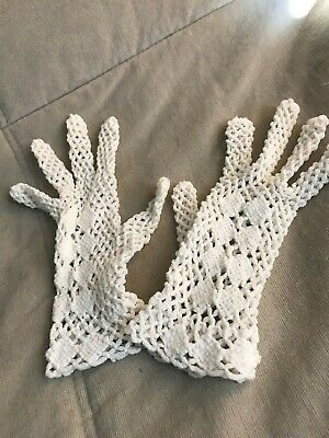 Vintage Off-white Ivory Crochet Gloves Made in Italy Small Dainty Fancy Nylon