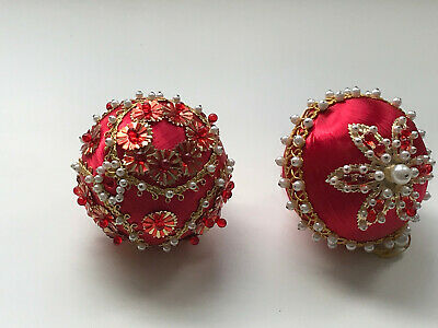 2 Vintage VICTORIAN Style Christmas Ornaments Red Pearls Beads Sequins Jewels
