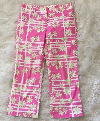 Lilly Pulitzer Womens Pink White Green Floral Striped Crop Pants Size 4