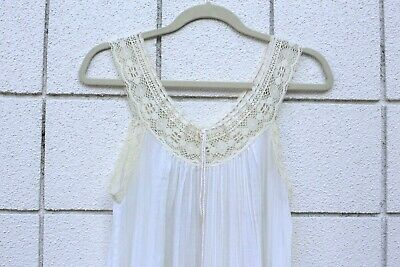 VTG Saks Fifth avenue tiered Gauze Boho Off white Maxi night gown laces RARE S