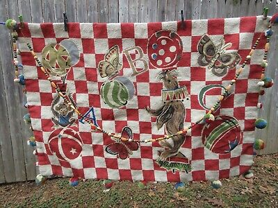 Vintage Circus needlepoint wool wall hanging The rug company ABC  4' X 2' 9""