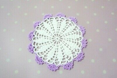 Hand Crochet Doily White Purple Home Table Decorate Handicraft Beauty Gift#05
