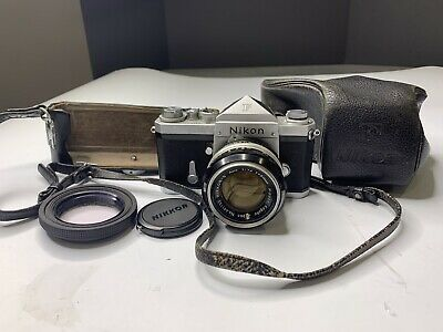 Nikon F Camera SRL Film w/ Nikkor-S 50mm f1.4 Lens & Case