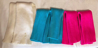Vintage Legwarmers Lot of 3 Pairs Turquoise Pink and White with Beads