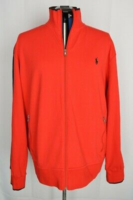 POLO RALPH LAUREN PERFORMANCE Men's Full Zip TRACK JACKET 2XL Ribbed RED BLACK