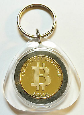 """Awesome Key Ring One Fifth """"Bitcoin"""" Finished in 999 24 K Gold  (a)"""