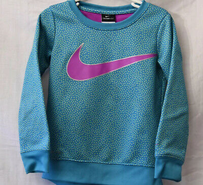 Girls kids size  Nike Therma Fit fleece pullover Teal Blue Purple Dots Size 5