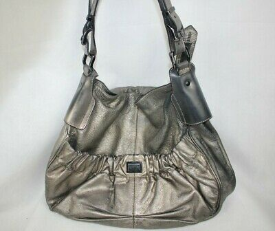 Burberry Silver Leather Top Handle Large Hobo Shoulder Bag