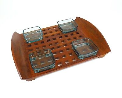 DANSK Lattice TRAY Large #863 4 Glass INSERTS Denmark JHQ