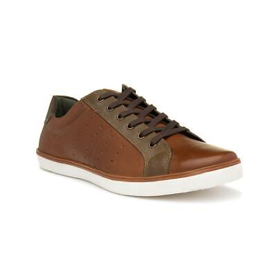 Silver Street Mens Tan Brown Leather Lace Up Casual Shoes with Flat Sole