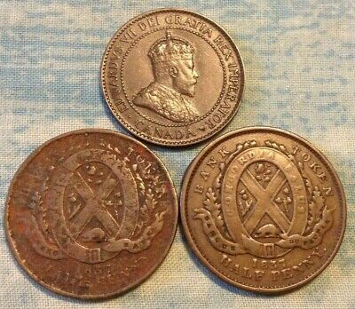 2-1837 Canada half penny tokens and 1-1904 Canada large cent