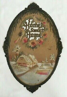 "Vtg Large 22"" Embossed Die Cut Calendar Topper Winter Home Sweet Home ~ Sparkly"