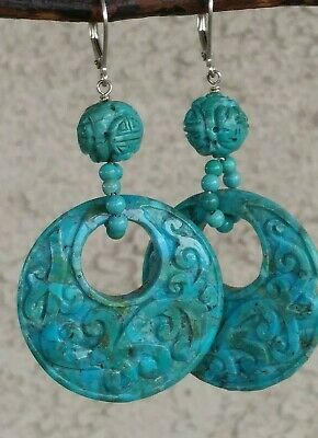 """""""Sally C"""" Hand Carved Double-Sided Turquoise Dangle Earrings Sterling Silver"""