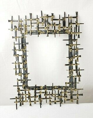 Mid Century Brutalist Nail Art Mirror Or Picture Frame Unsigned
