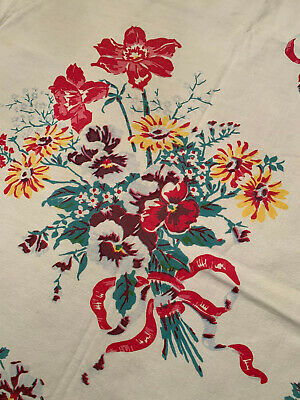 """Vintage Tablecloth, 46"""" X 48"""", red, yellow and white flower bouquets"""