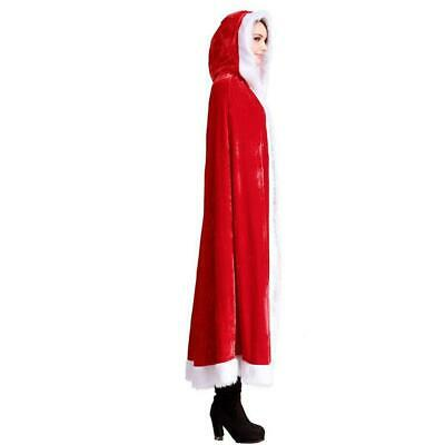 Christmas Ladies Mrs  Santa Claus Fancy Dress Costume Cloak Cape Outfit UK