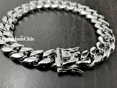 Men's Miami Cuban Link Chain Solid 316 Stainless Steel Bracelet Silver Tone