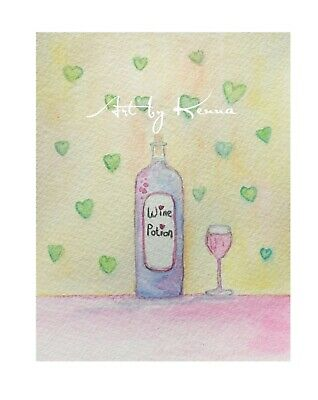 Wine Bottle Potion Original Watercolour Painting By Kenna Unframed