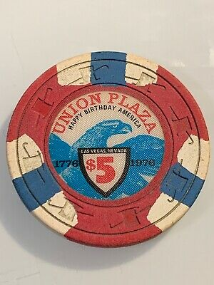 UNION PLAZA $5 Casino Chip LAS VEGAS Nevada 3.99 Shipping