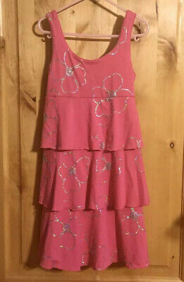 JUSTICE Hot Pink Silver Sequined Flower Tie-Back Tank Dress EUC 7
