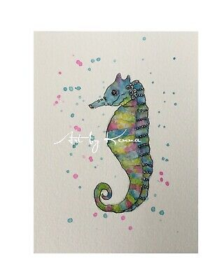 Seahorse Watercolour Painting By Kenna 12cm X 16cm Unframed Original