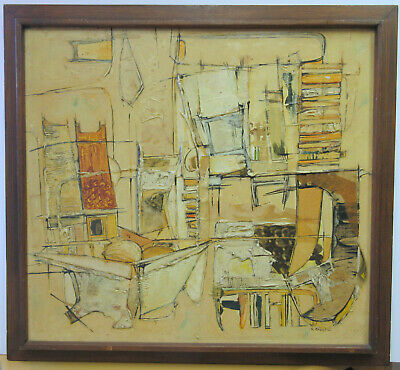 vintage c1960 MID CENTURY MODERN ABSTRACT PAINTING RUTH CHECKIS OREGON