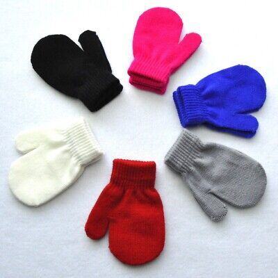 Childrens Mittens Gloves Winter Warm Girls Boys Toddler Knitted Gifts  #rc1